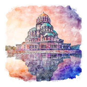 Собор александра невского болгария акварельный эскиз рисованной иллюстрации