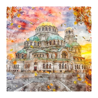 Alexander nevsky cathedral sofia bulgaria watercolor sketch hand drawn illustration