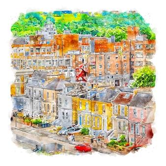 알렉산드라 궁전 런던 수채화 스케치 손으로 그린 그림