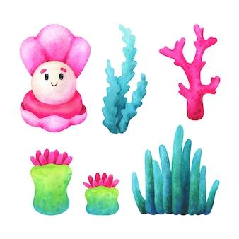 Водоросли, кораллы, осьминоги в розовых и зеленых тонах. набор акварельных иллюстраций