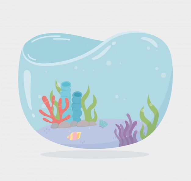 Algae reef shellsea water shaped tank for fishes under sea cartoon vector illustration