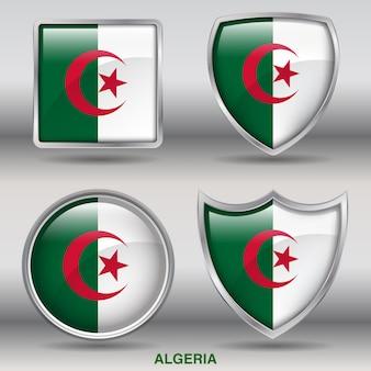 アルジェリアの旗ベベル4図形アイコン