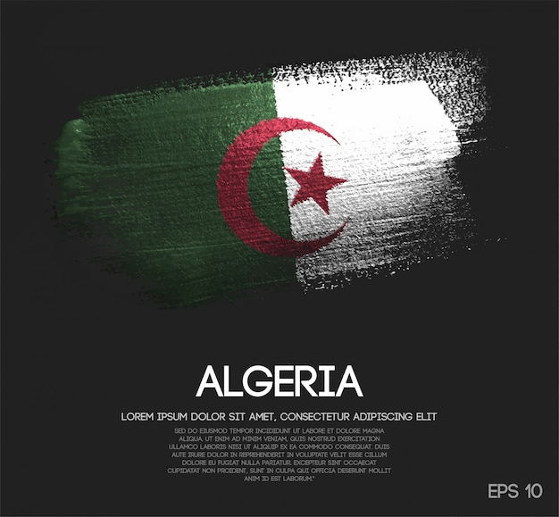Algeria flag made of glitter sparkle brush paint
