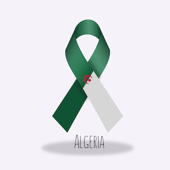 Algeria flag ribbon design