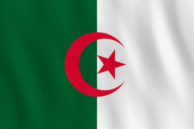手を振る効果のあるアルジェリアの旗、公式のプロポーション。