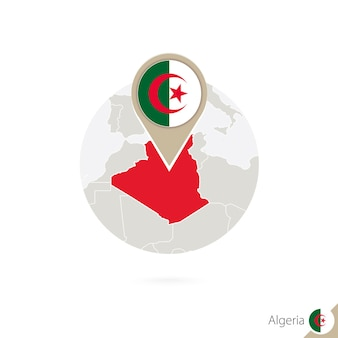 Algeria map and flag in circle. map of algeria, algeria flag pin. map of algeria in the style of the globe. vector illustration.