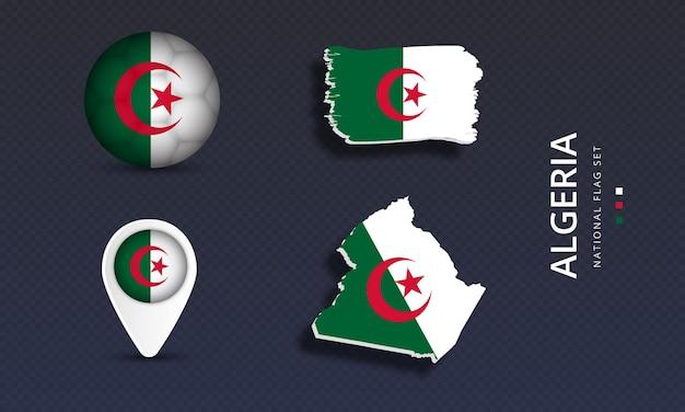 Algeria national country wave flag set
