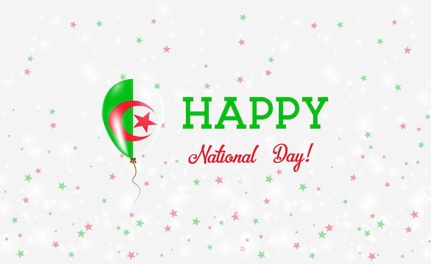 Национальный день алжира патриотический плакат. летающий резиновый шар в цветах алжирского флага. национальный день алжира фон с воздушным шаром, конфетти, звездами, боке и блестками.