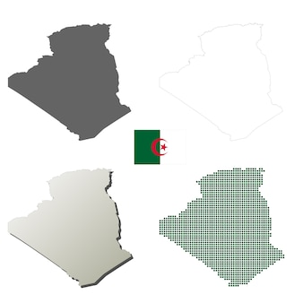 Algeria vector outline map set