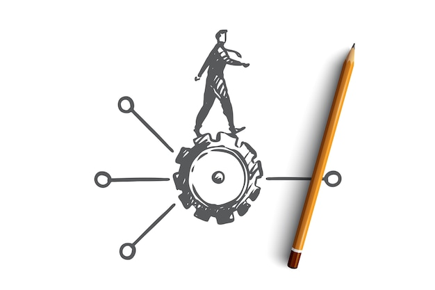 알고리즘, 데이터, 사용자, 요소, 소프트웨어 개념. 톱니 바퀴와 계획 개념 스케치에 손으로 그린 남자.