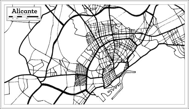 복고 스타일 알리칸테 스페인 도시 지도입니다. 개요 지도. 벡터 일러스트 레이 션.
