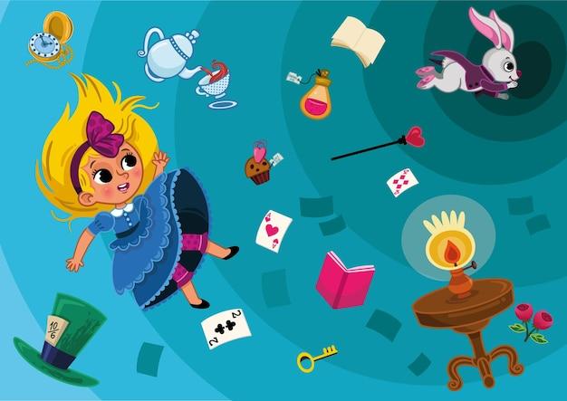 앨리스 캐릭터는 토끼 구멍에 빠진다 이상한 나라의 앨리스 배경 그림