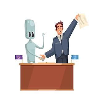 Инопланетянин и человек пожимают друг другу руки после подписания соглашения о партнерстве мультфильм