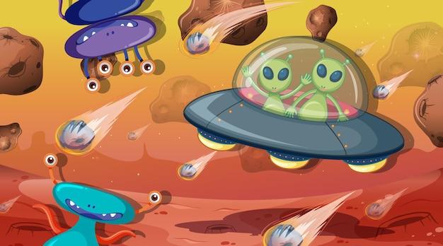 우주 장면에서 외계인과 괴물
