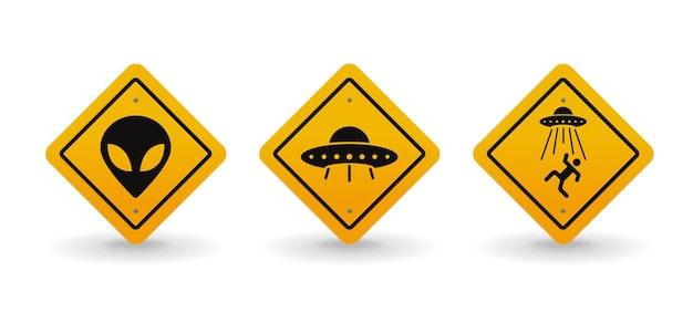Инопланетяне и нло предупреждают набор дорожных знаков иллюстрации