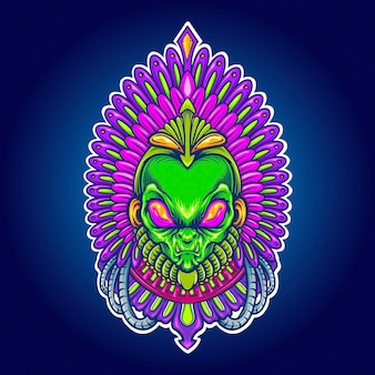 작업 로고, 마스코트 상품 티셔츠, 스티커 및 레이블 디자인, 포스터, 인사말 카드 광고 비즈니스 회사 또는 브랜드에 대한 alien aztec indian space vector 삽화.