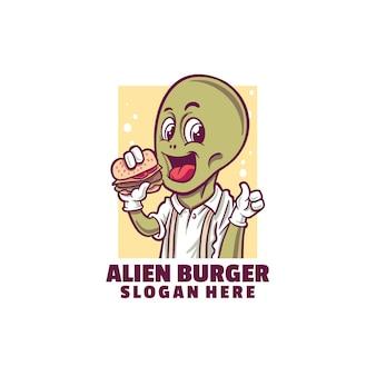 白で隔離されるエイリアン バーガーのロゴ