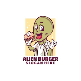 Alien burger logo isolated on white