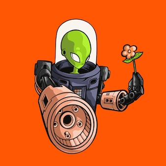 Alien cartoon carrying weapon and flower illustration