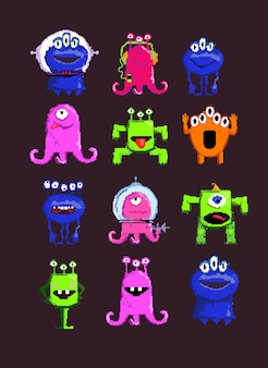 Alien cartoon characters set illustration