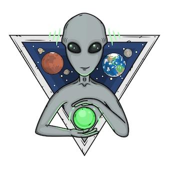 Alien cartoon illustration