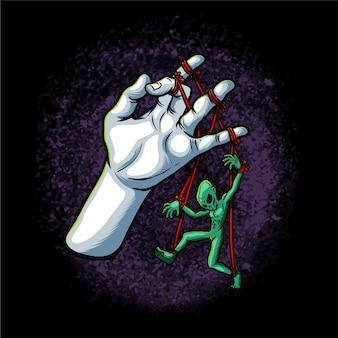 Alien caught red handed illustration