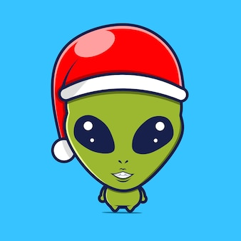 Alien character with christmas hat