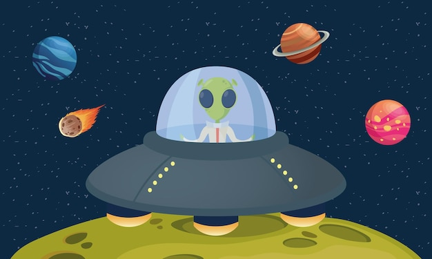 Alien comic character in ufo with planets scene