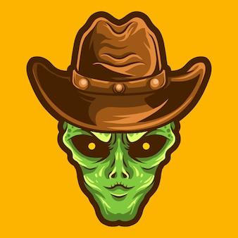 Чужой ковбой векторная иллюстрация на желтом