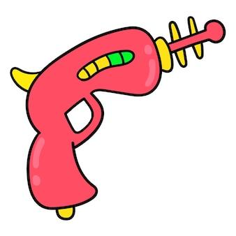 エイリアンクリーチャーのおもちゃの銃。漫画の絵文字。落書きアイコンの描画、ベクトル図