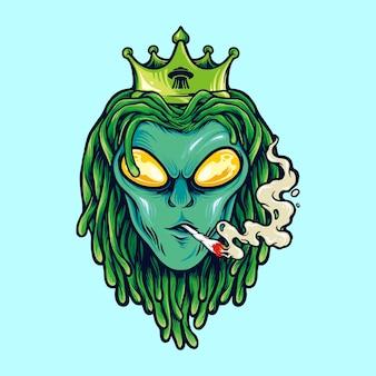 エイリアンドレッドヘア王、雑草煙のイラスト