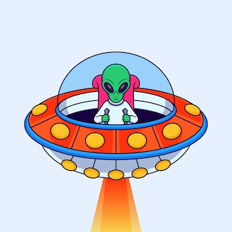 Alien driving ufo vector illustration on isolated background