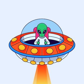 Инопланетянин за рулем нло векторные иллюстрации на изолированном фоне