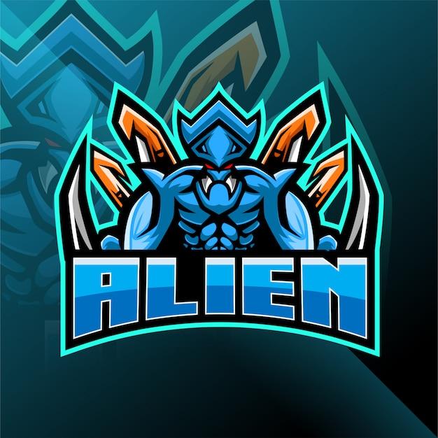 Alien esport талисман дизайн логотипа