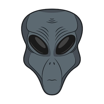 Alien face extraterrestrial head icon hand drawn humanoid concept of martian space invader