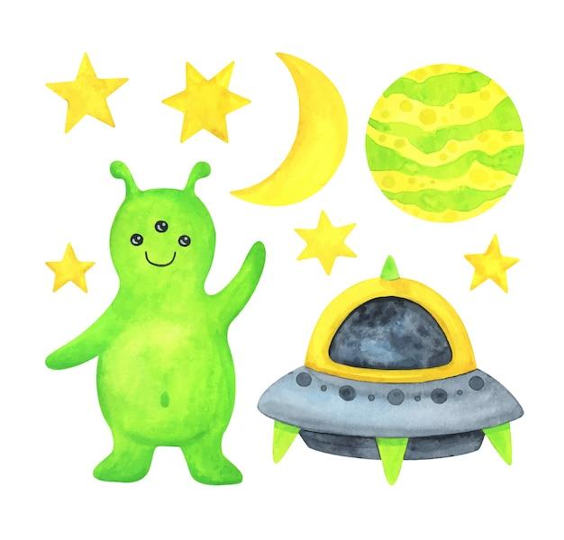 Чужой, летающая тарелка, планета, звезды и луна. набор космических иллюстраций