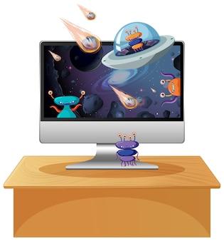 컴퓨터 화면에 외계인 은하 배경
