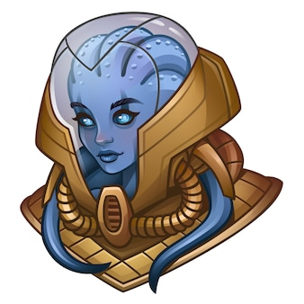 宇宙スロットゲームのエイリアンの女の子宇宙飛行士