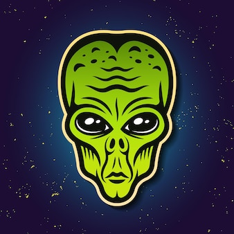 Alien green head colored vector illustration on gradient background