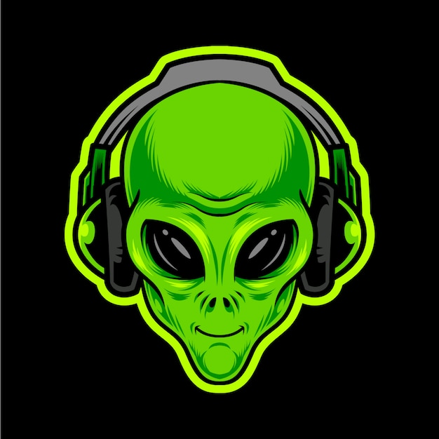 Alien green head with headphones.