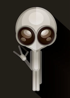 Alien hand drawn vector illustration.