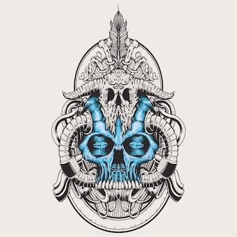 Alien head like human skull badge art design hand drawing