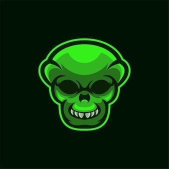 Иллюстрация шаблона логотипа головы инопланетянина. киберспорт логотип игры premium векторы