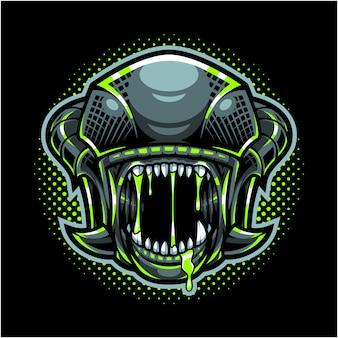 Логотип талисмана головы пришельца