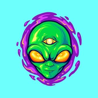 작업 로고 상품 의류 라인, 스티커 및 포스터, 인사 장 광고 비즈니스 회사 또는 브랜드에 대한 외계인 머리 마스코트 괴물 삽화