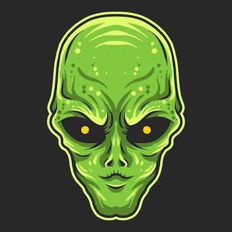 Alien head vector illustration isolated on dark