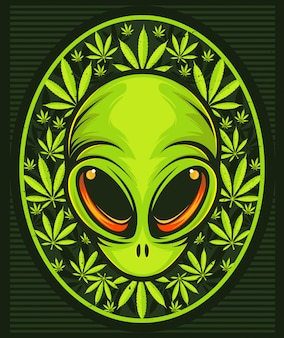 大麻葉とエイリアンの頭。