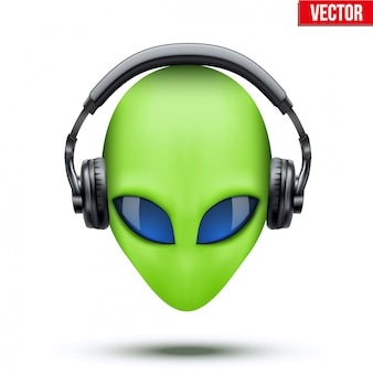 Alien head with headphones.