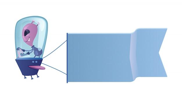 Чужеземец в иллюстрации шаржа летающей тарелки. внеземной с флагом. готовый шаблон персонажа для рекламы, анимации, полиграфического дизайна. комический герой