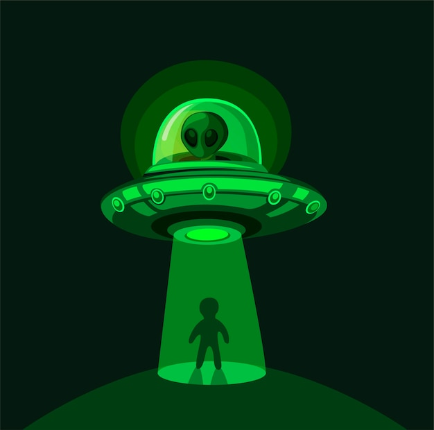 Alien invasion on earth. flying ufo abduction with light beam at night scene concept in comic cartoon illustration
